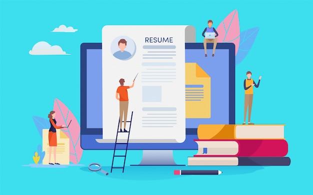 Recrutement en ligne. Vecteur Premium