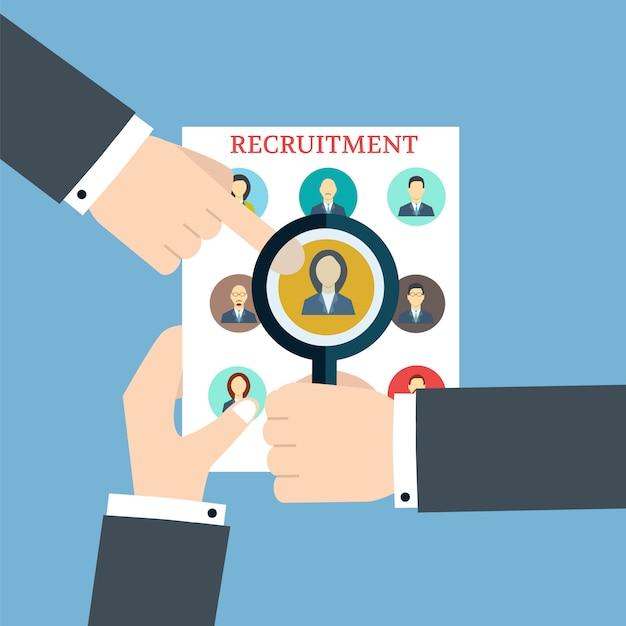 Recrutement. recherche du profil. recrutement humain et ressource Vecteur Premium