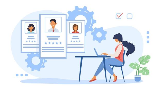 Recruter Un Agent Analysant Les Candidats Vecteur gratuit