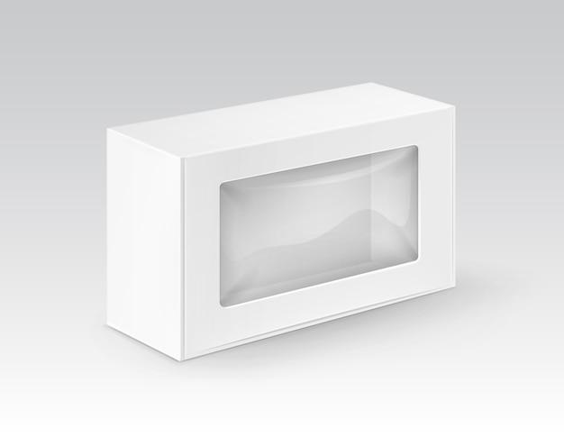 Le Rectangle Blanc Blanc De Carton Emportent L'emballage De Boîte Pour Le Sandwich Vecteur Premium