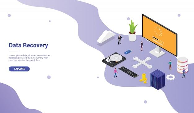 Récupération de données depuis une base de données de serveur de secteur défectueux avec du matériel pour la page d'accueil de modèle de site web avec des membres de l'équipe et un style plat moderne isométrique Vecteur Premium