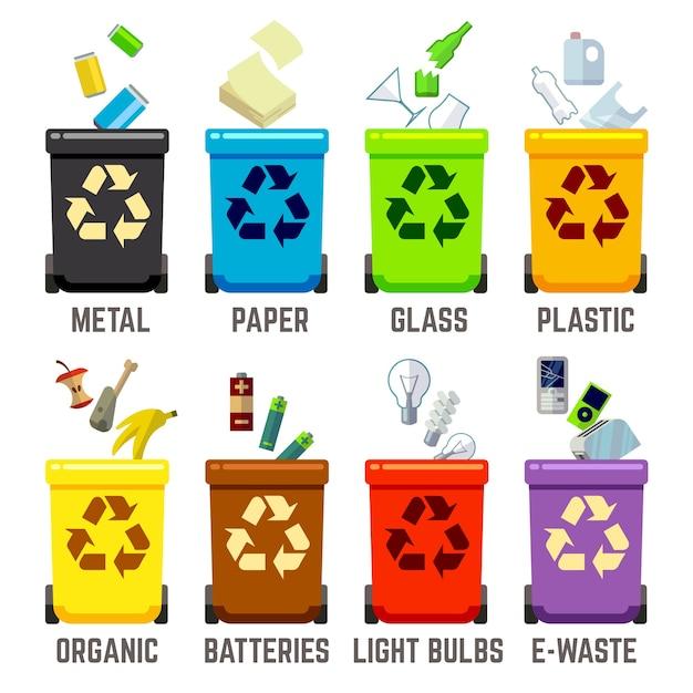 Recycler des bacs avec différents types de déchets Vecteur Premium