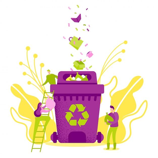 Recycler les déchets, économiser l'écologie Vecteur Premium