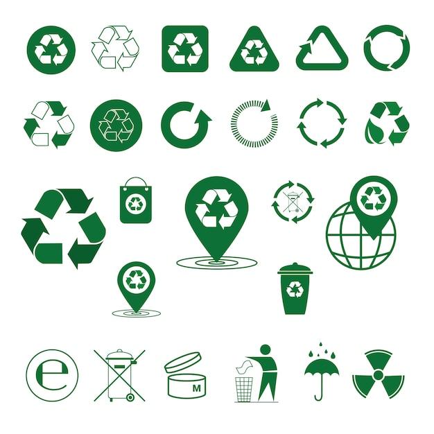Recycler Les Déchets Symbole Flèches Vertes Logo Set Collection D'icônes Web Vecteur Premium