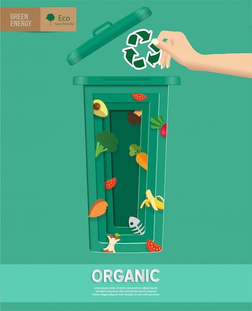 Recycler les poubelles infographiques dans papier découpé Vecteur Premium