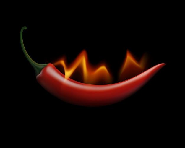 Red Hot Chili Pepper Sur Le Feu Et La Flamme Sur Fond Blanc Vecteur Premium