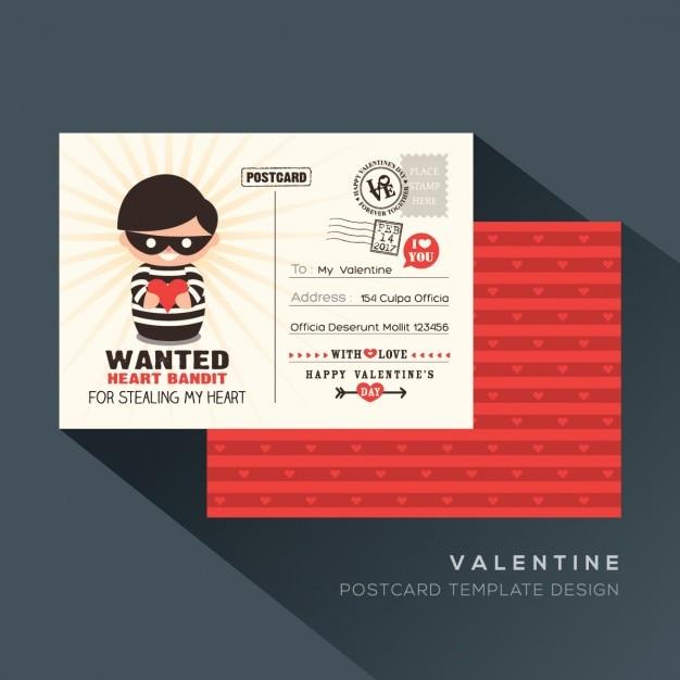 Red valentine heart bandit carte postale de conception modèle mignon Vecteur gratuit