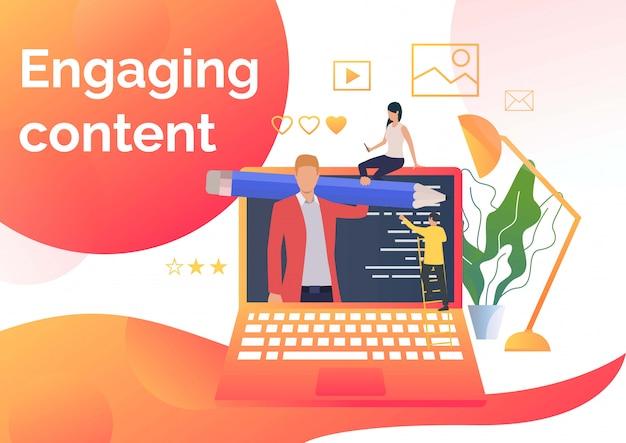 Rédacteurs faisant du contenu Vecteur gratuit