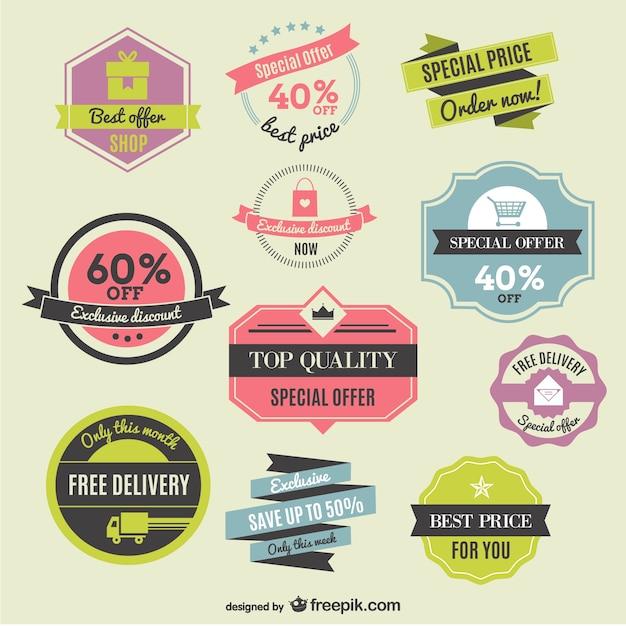 Réductions Des étiquettes Et Des Rubans Vecteur gratuit