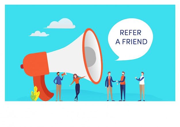 Référez un ami Vecteur Premium