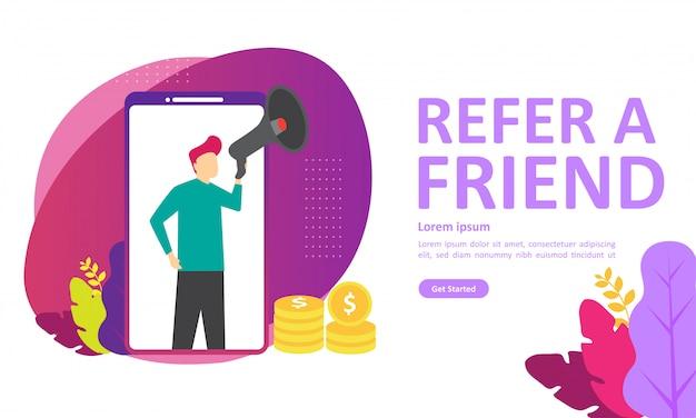 Référez-vous à un ami vector illustration Vecteur Premium