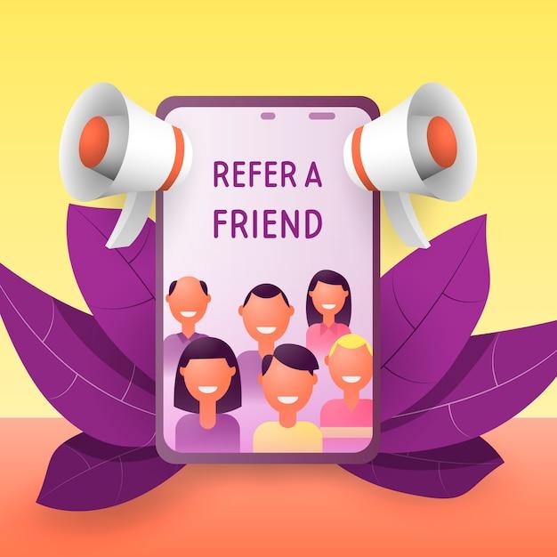 Référez-vous à un ami. Vecteur Premium