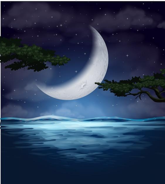 Un reflet de croissant de lune sur l'eau Vecteur Premium