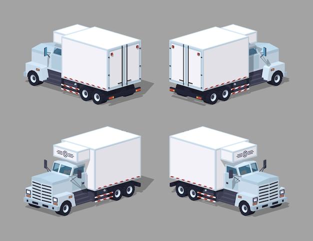 Réfrigérateur blanc de camion low poly Vecteur Premium