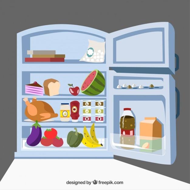 Réfrigérateur Avec De La Nourriture Vecteur gratuit