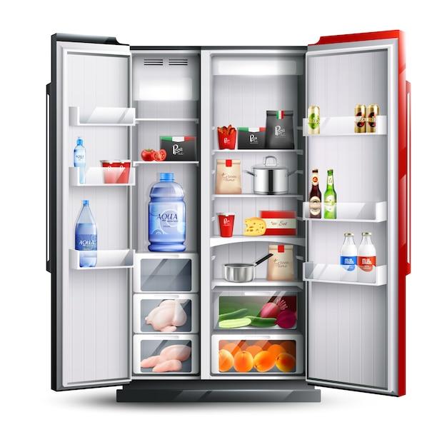 Réfrigérateur ouvert rouge et noir avec des produits Vecteur gratuit