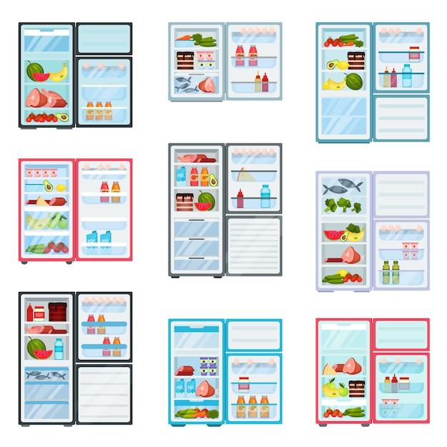 Réfrigérateurs Plats Et à Portes Ouvertes. Réfrigérateurs Remplis De Produits. Fruits Et Légumes, Viande Et Produits Laitiers Vecteur Premium