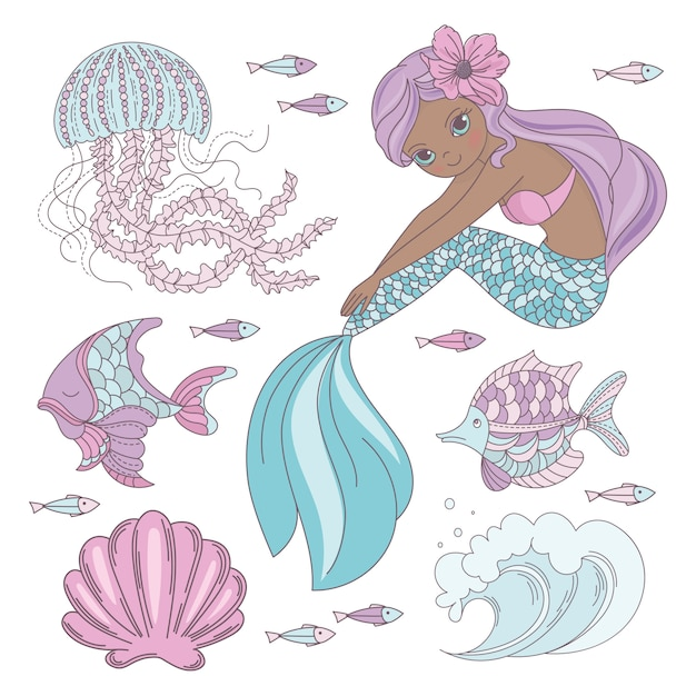 Regarde mermaid princesse animal marin Vecteur Premium