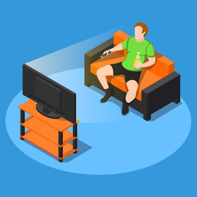 Regarder la composition de la télévision Vecteur gratuit
