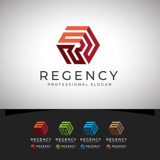 Regency r lettre logo hexagone Vecteur Premium