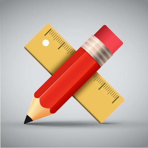 Règle Et Dessin Au Crayon Vecteur gratuit