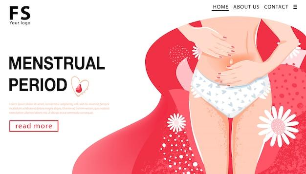 Règles. modèle de page de destination. femme ayant des douleurs abdominales. concept de santé de la femme avec le corps de la femme, l'aine de la femme et des fleurs. illustration vectorielle Vecteur Premium