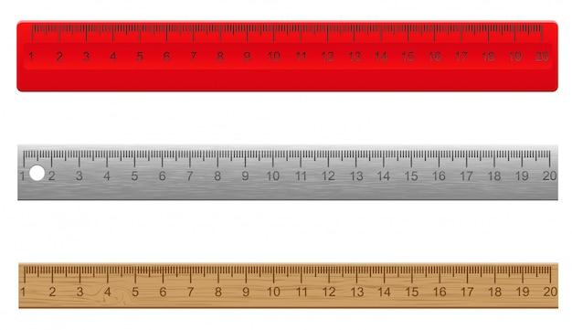 Règles en plastique illustration de vecteur en bois et métal Vecteur Premium