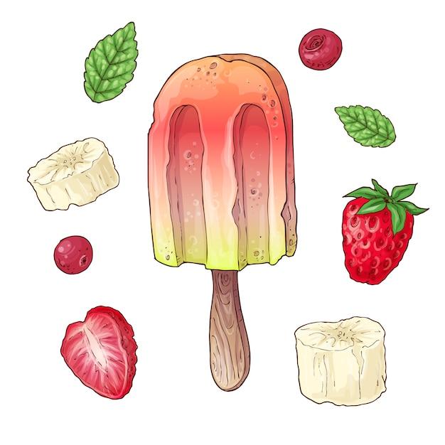Réglez la banane à la crème glacée de cerise framboise. Vecteur Premium