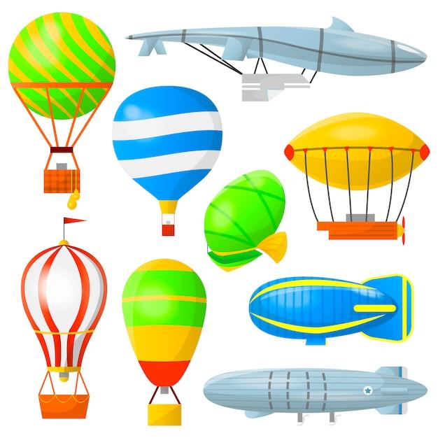 Réglez les montgolfières et les dirigeables. Vecteur Premium