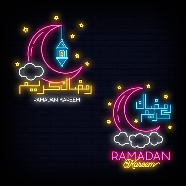 Réglez le néon ramadan kareem avec croissant de lune et étoile Vecteur Premium