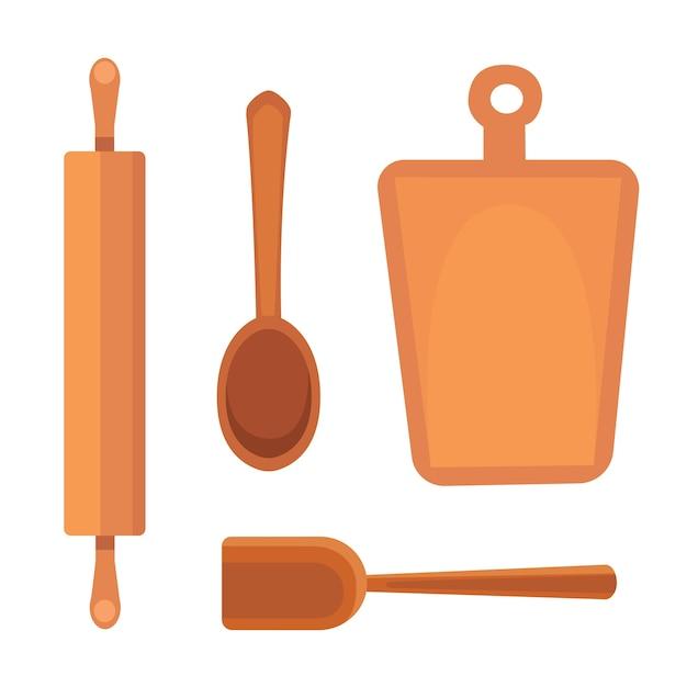 Réglez Les Ustensiles De Cuisine. Style Des Outils De Cuisine. Faire Cuire Des Objets D'équipement. Vecteur Premium