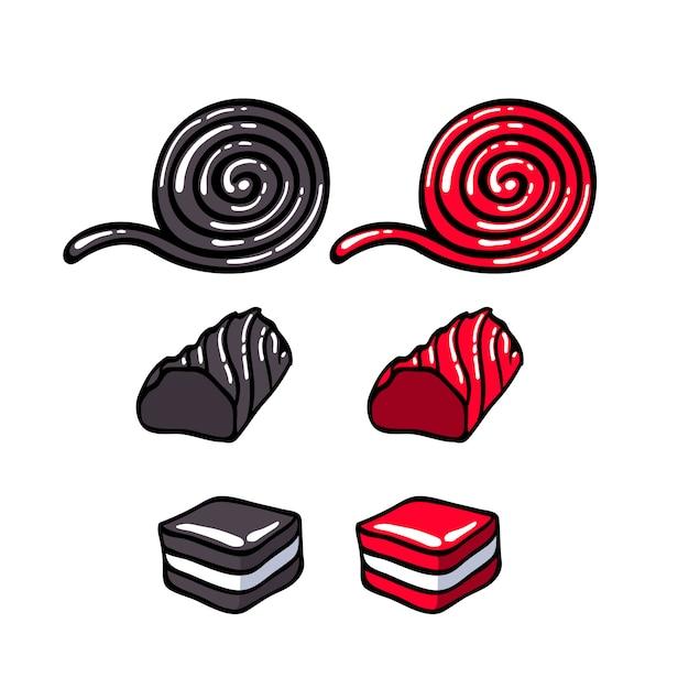 Réglisse bonbons mis illustration vectorielle Vecteur Premium