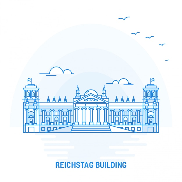 Reichstag building point de repère bleu Vecteur Premium