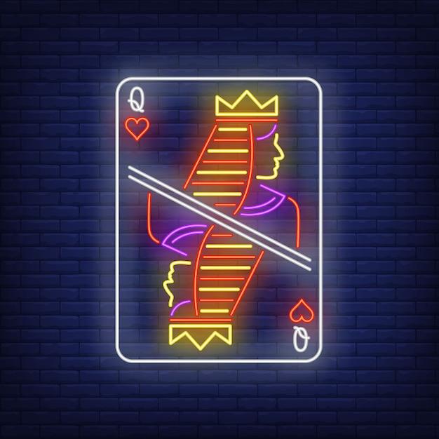 Reine des coeurs de jouer au néon carte à jouer. Vecteur gratuit