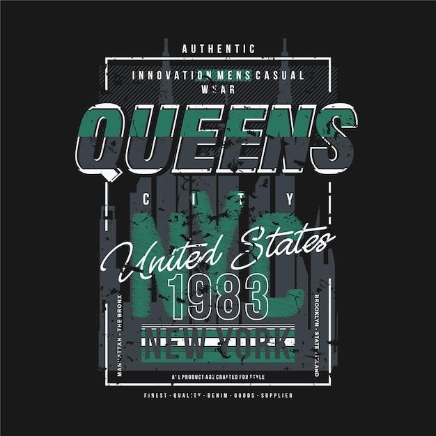 Reines New York City Texte Cadre Mode Style T-shirt Design Typographie Illustration Vecteur Premium