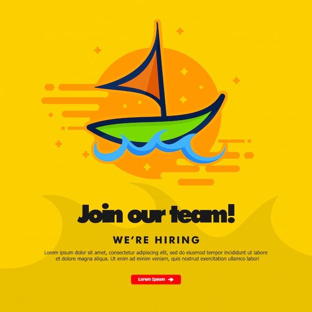 Rejoignez notre équipe, nous recrutons, modèle de bannière avec bateau Vecteur Premium