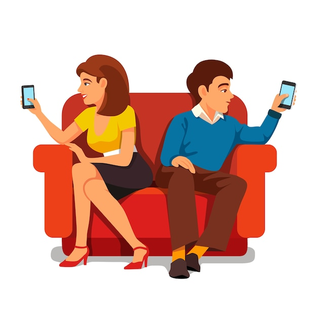 Relation familiale de dépendance aux smartphones Vecteur gratuit