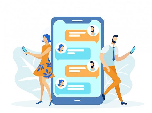 Relations amoureuses en ligne, sms entre filles et garçons. Vecteur Premium