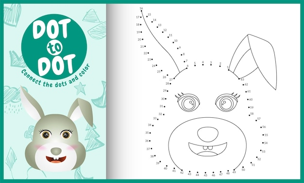 Reliez Le Jeu Et La Page De Coloriage Pour Enfants Dots Avec Un Lapin Mignon Vecteur Premium