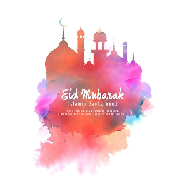 Religieux eid mubarak élégant coloré Vecteur gratuit
