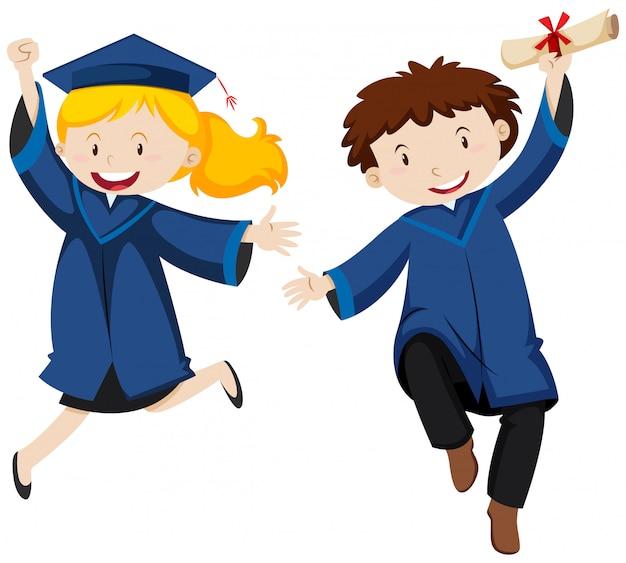 Remise des diplômes avec deux étudiants Vecteur gratuit