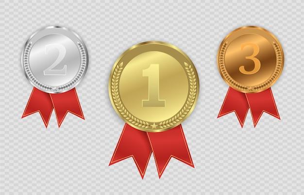 Remise Des Médailles Isolés Sur Fond Transparent. Illustration Du Concept Gagnant. Vecteur Premium