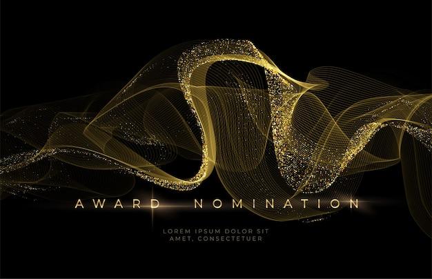 Remise Des Prix Fond Noir Luxueux Avec Des Vagues De Paillettes Dorées. Contexte De Mise En Candidature. Vecteur Premium