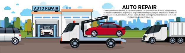 Remorquage de camion à la bannière horizontale de garage auto repait avec espace de copie Vecteur Premium