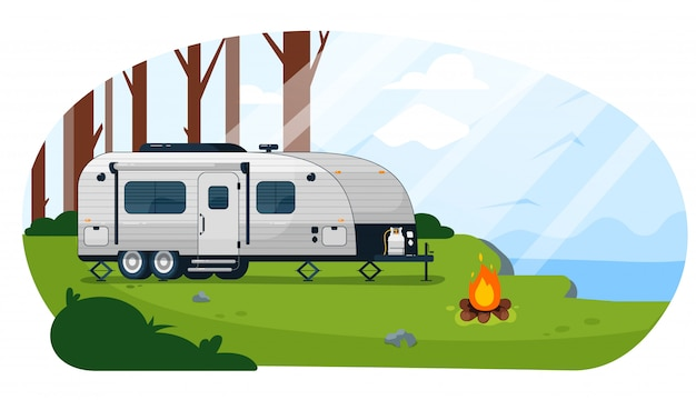 Remorque De Camping-car. Caravane Camping-car Vecteur Premium
