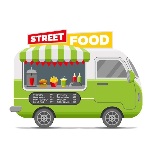 Remorque caravane de vecteur rapide de nourriture de rue Vecteur Premium