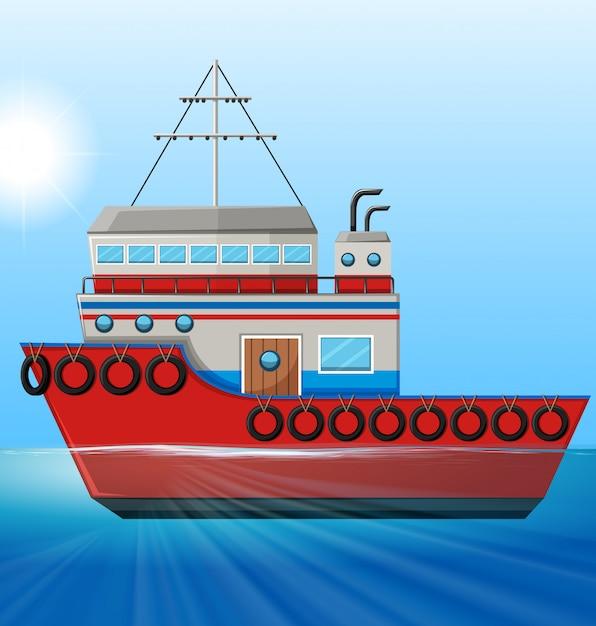 Remorqueur flottant dans l'océan Vecteur gratuit