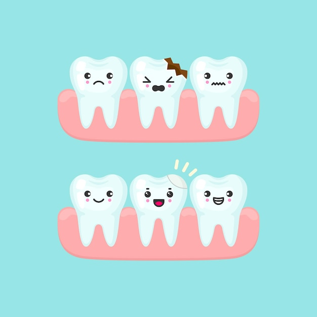 Remplissage Dentaire Sur Un Concept De Stomatologie De Dent Cassée. Illustration Isolée De Dents De Dessin Animé Mignon Vecteur Premium