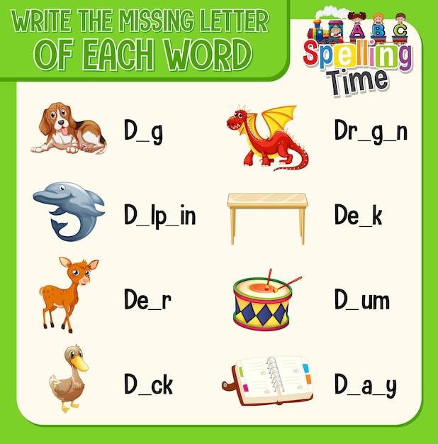 Remplissez La Lettre Manquante De Chaque Feuille De Calcul De Mot Pour Les Enfants Vecteur gratuit