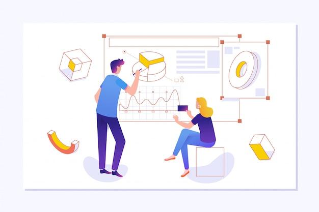 Remue-méninges idées concept de diagramme de processus de créativité. Vecteur Premium